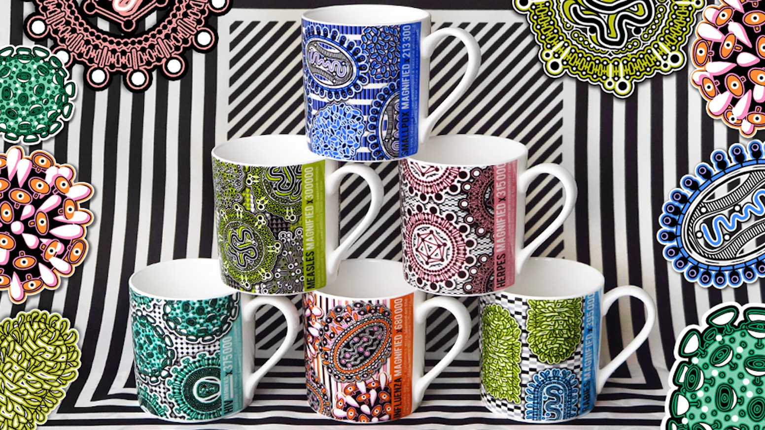 Six mugs featuring illustrations of viruses. For design nerds, science geeks and tea & coffee lovers! Hand decorated in Stoke-On-Trent.