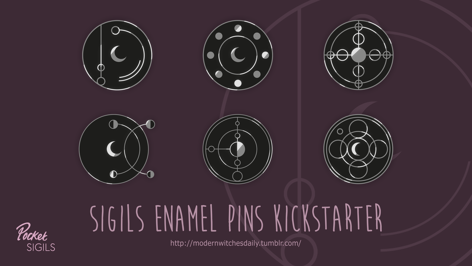Enamel pins of my Sigils to wear on your daily life to protect you, bring you peace, confidence and more! ☾