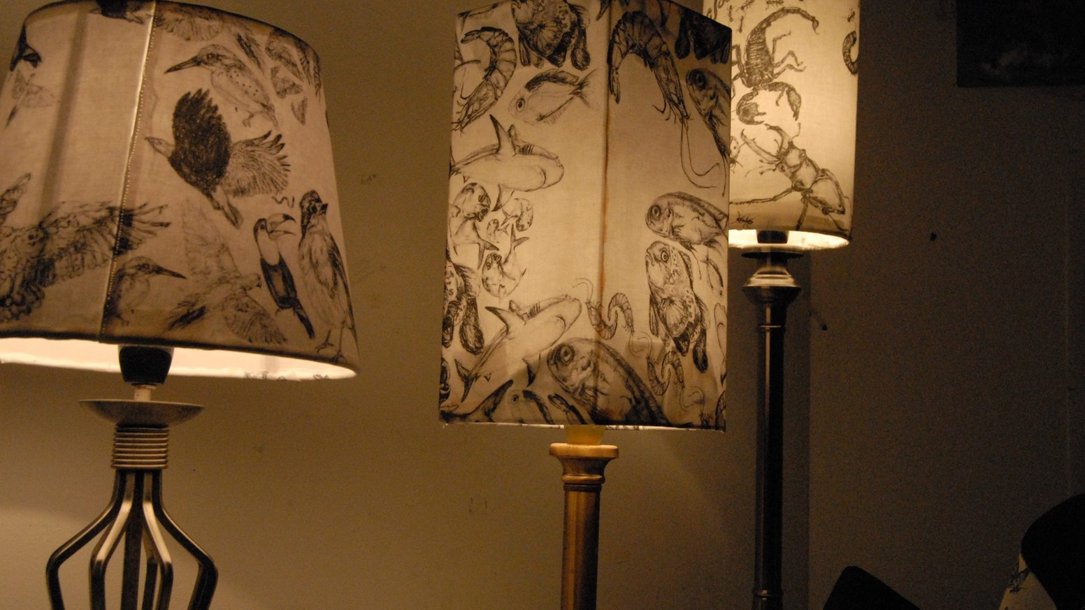 A Collection Of Designer Hand Drawn Animal Lampshades