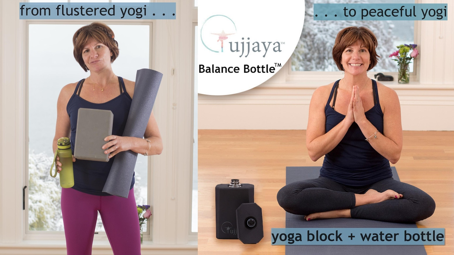 Simplify & support your yoga practice with this combination yoga block and water bottle.