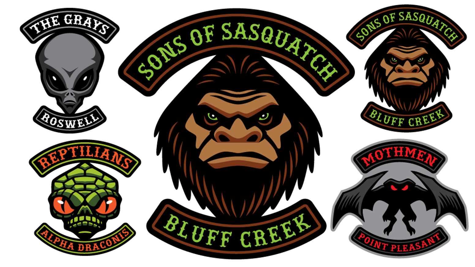 Cryptozoology Creature Biker Patches Sasquatch Bigfoot Mothman Aliens And Reptilians