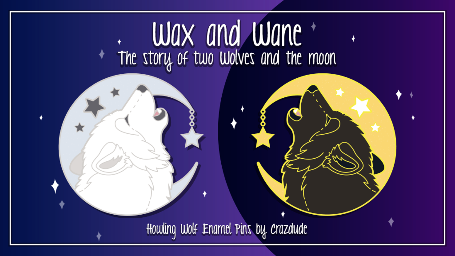 Enamel pins featuring a howling white wolf on silver moon and black wolf on gold moon with glitter and star charm accent