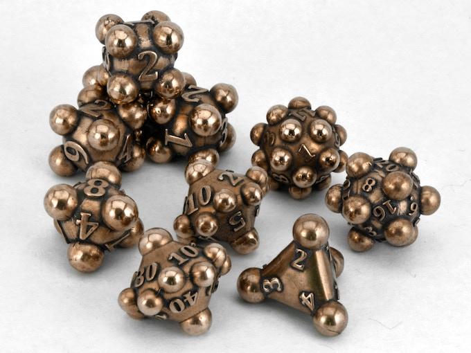 10-die polyhedral set: 1d4, 4d6, 1d8, 1d10. 1d100. 1d12. 1d20