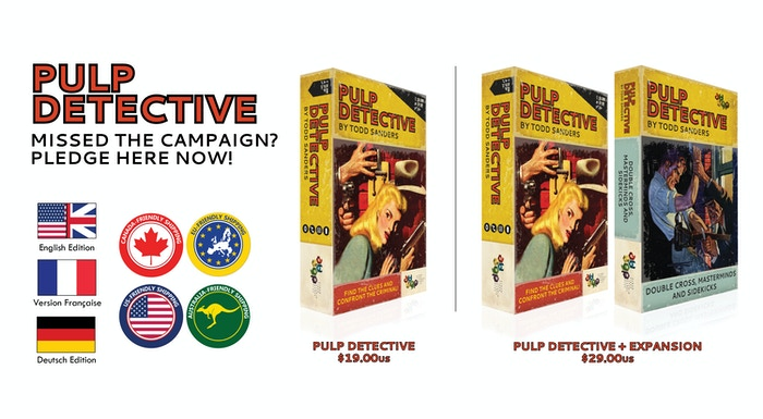 Pulp Detective is a 1–2p card detective game in the pulp universe: Grab your gun, find the clues and confront the criminal at the end!