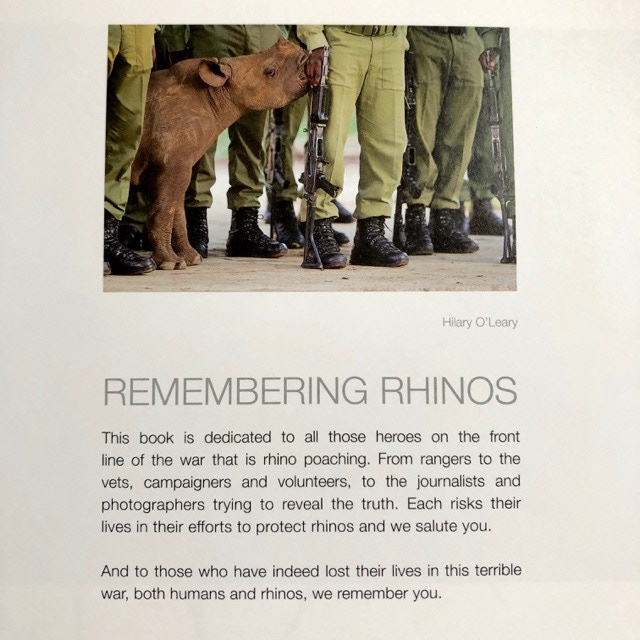 The dedication on page one of Remembering Rhinos