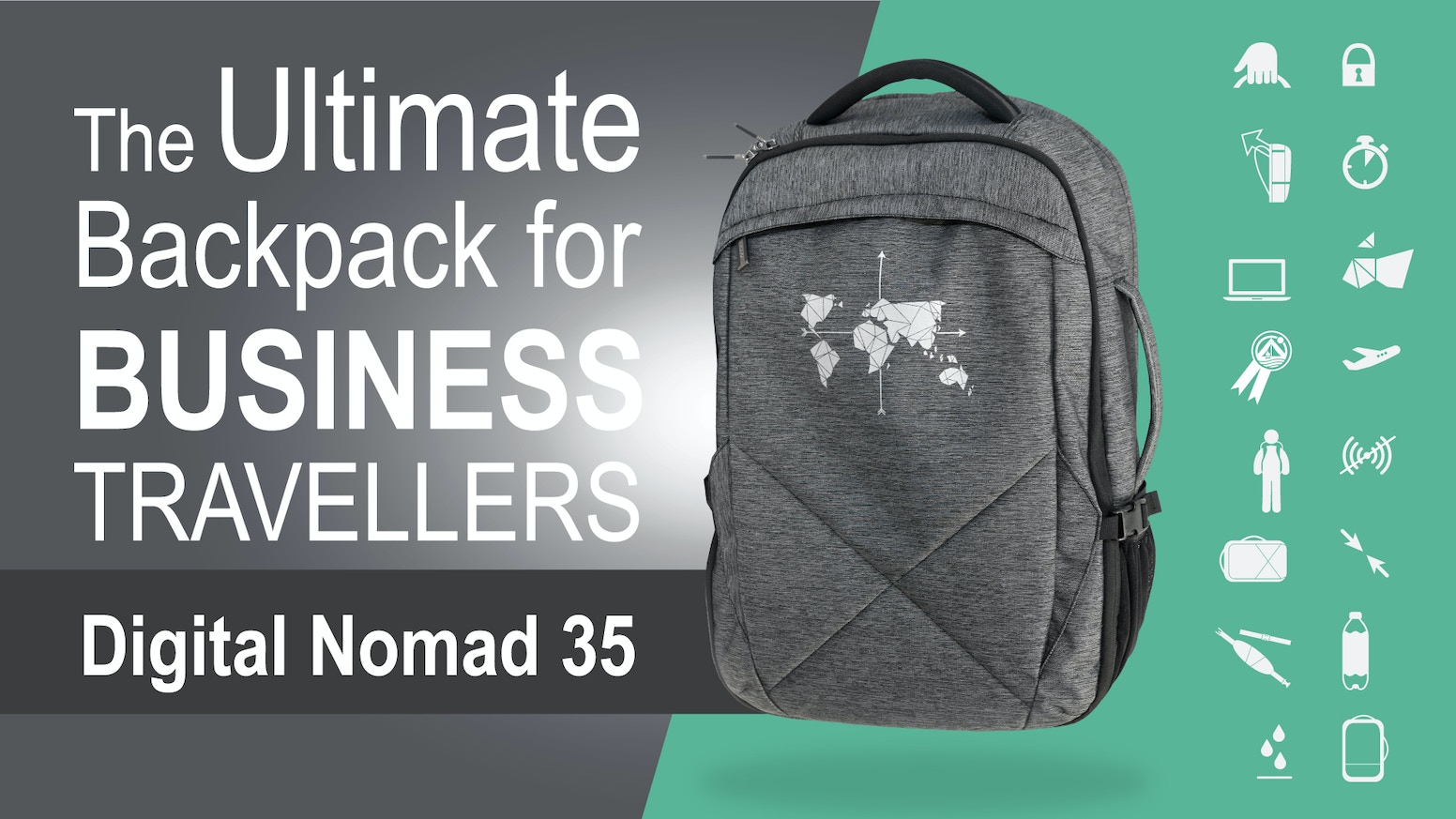 Digital Nomad 35 - The Ultimate Backpack for Business Travellers combines fast access, security, functionality, organisation & comfort.
