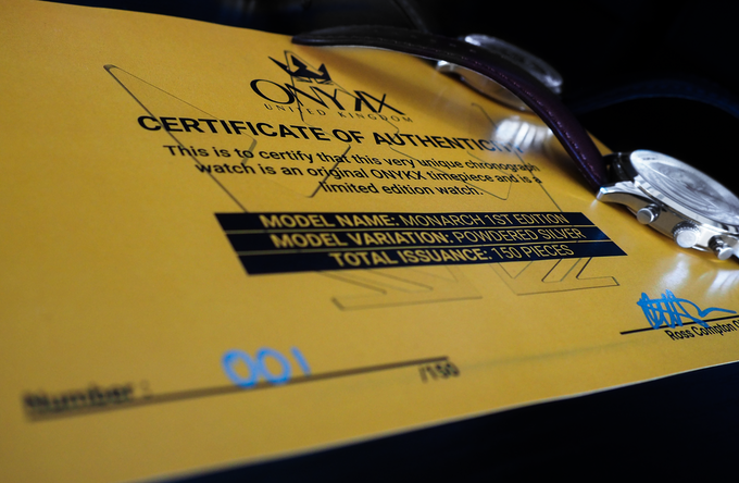 Each watch comes with a certificate of authenticity.