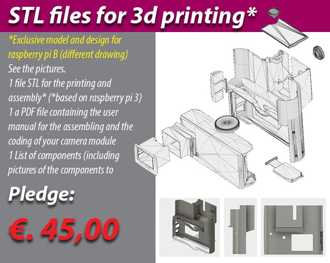 ATTENTION: Electronic parts not included, but only 3d stl files for printer. Required basic knowledge of electronics and programming (arduino, raspberry pi etc)