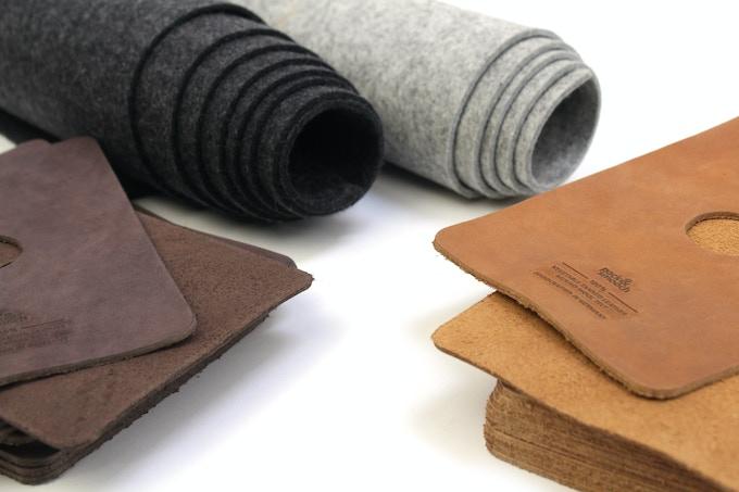 100% Merino wool felt, pure vegetable tanned leather
