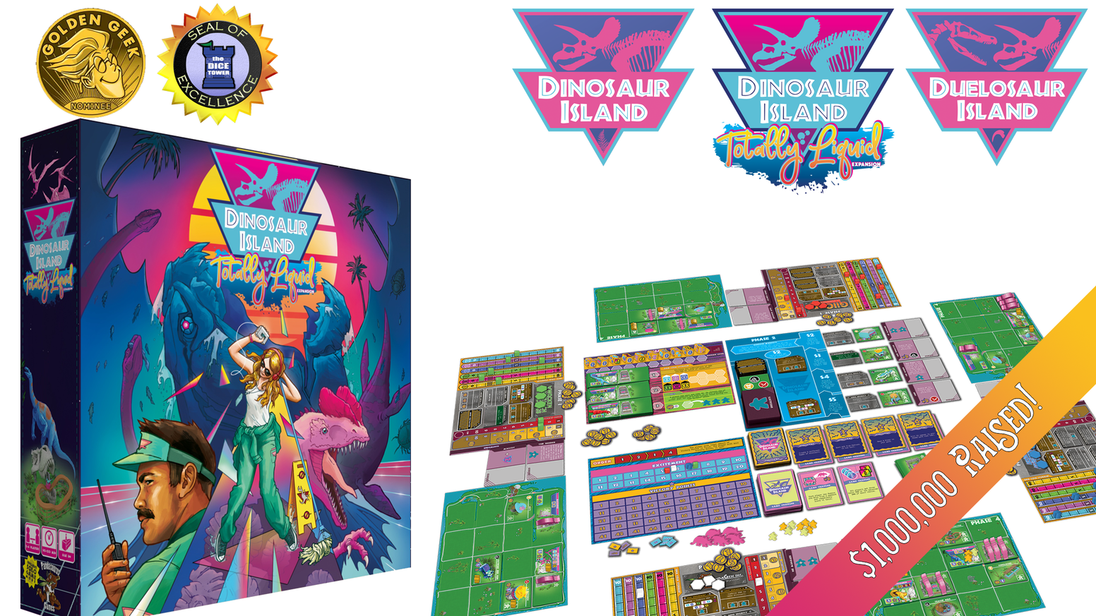 Dinosaur Island: Back from Extinction.   Dinosaur Island X-treme Edition, Totally Liquid Expansion and Duelosaur Island 2 player game!