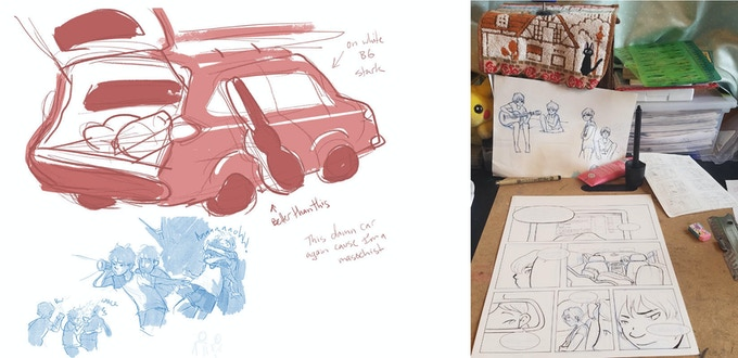 Character design sketches, figuring out the Aventurera tile image, a photo of Gabi's work desk