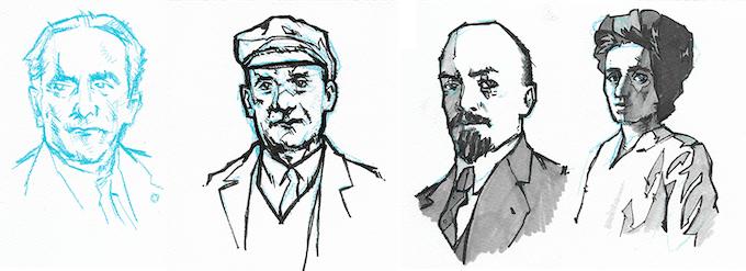 Sketches of Albert, Ernst Thälmann, Vladimir Lenin and Rosa Luxemburg
