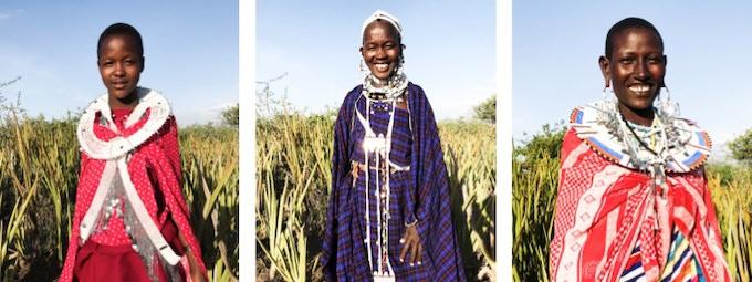 Meri, Mama Meri and Martha (Maasai artisans).