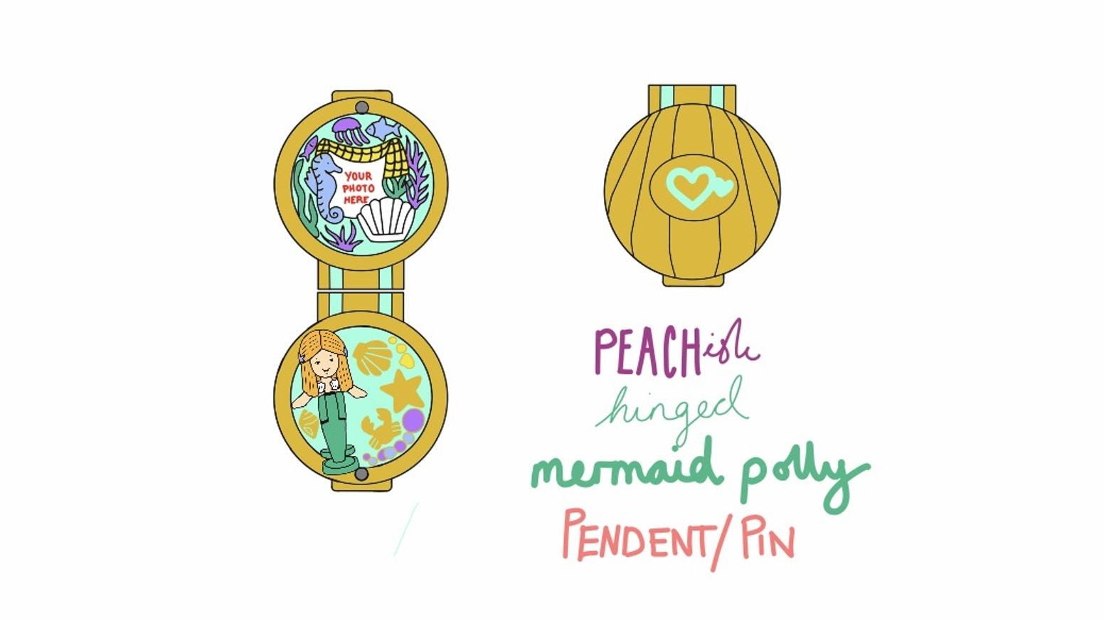 Peachish Polly Pocket Mermaid Hinged Pin And Necklace By Peachish