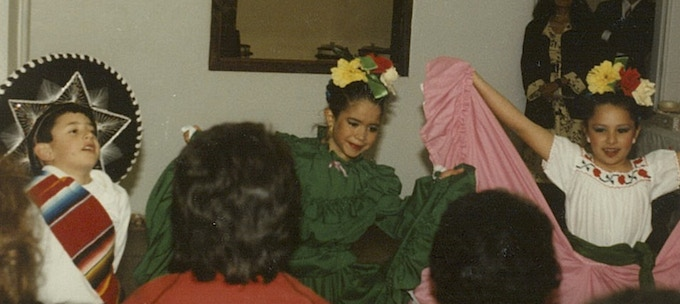 Me (left) as a young folklorico dancer in 1989