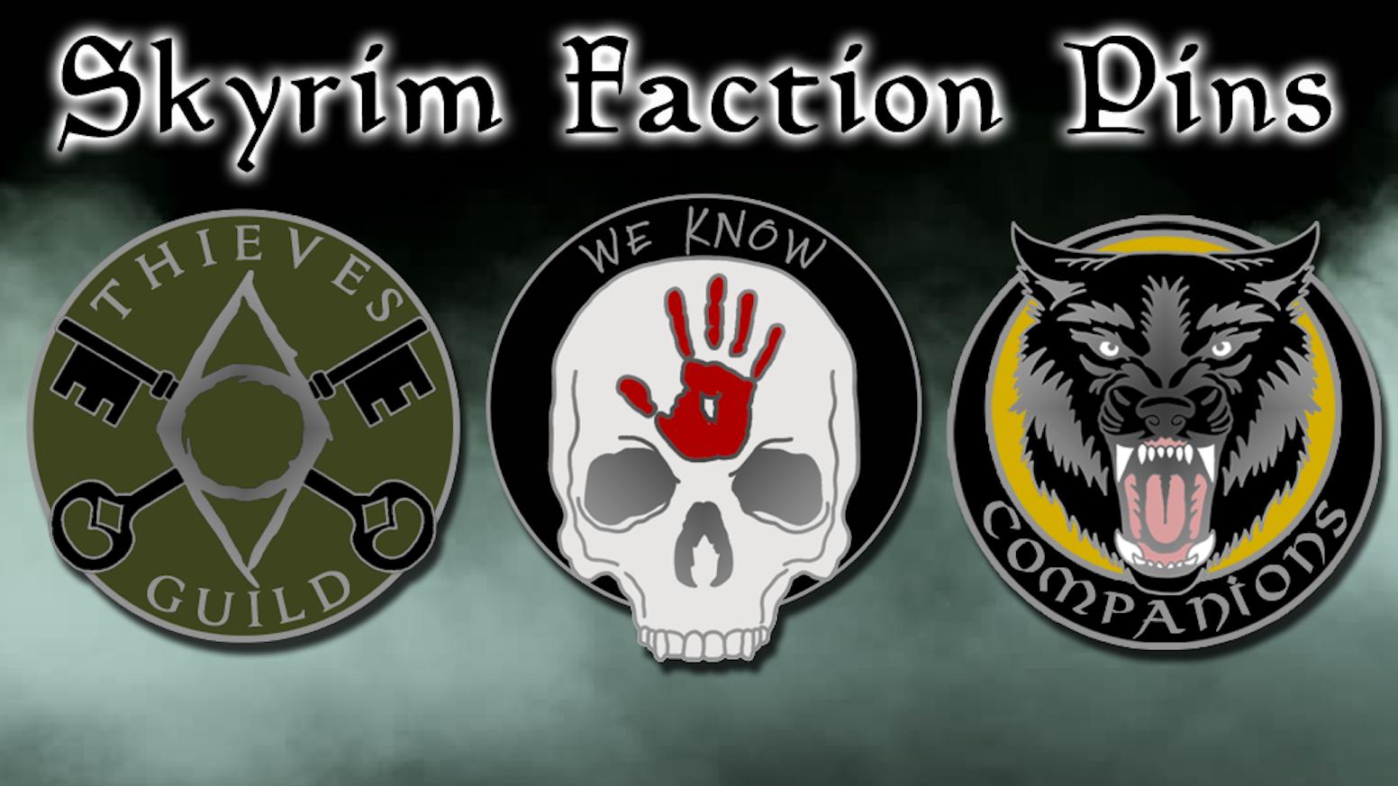 Skyrim Faction Enamel Pins By Sword Whetstone Kickstarter