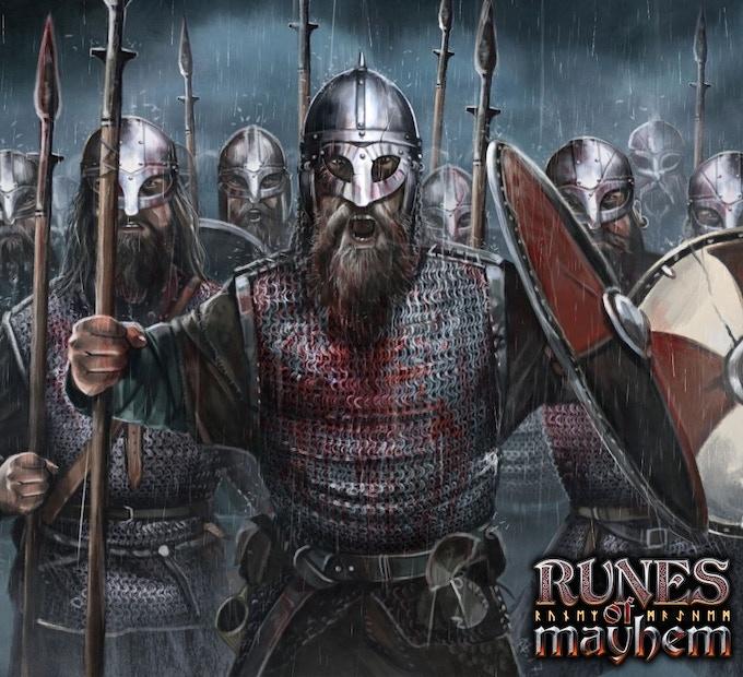 Viking spearmen taunting the enemy
