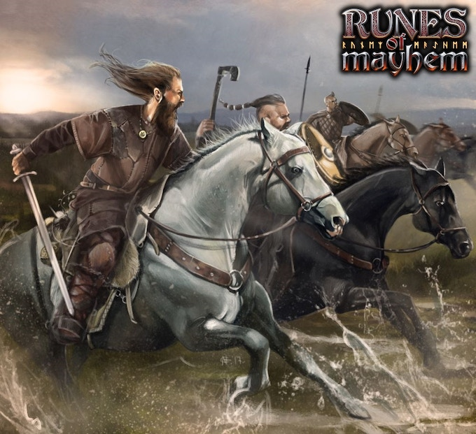 Viking horsemen in the midst of a wild charge