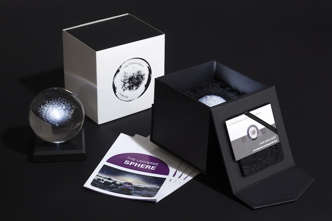 The Milky Way in a Sphere V1, The Universe in a Sphere, Gift Box and Flyer.