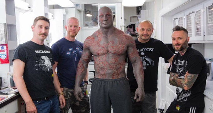 Jon Moore (second from the left) part of the Drax make-up crew