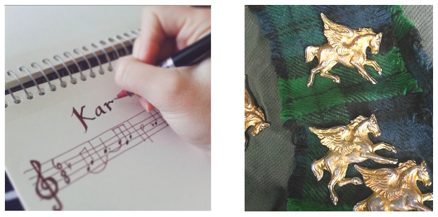 Hand-drawn Music Themes & Golden Winged Horse Brooches