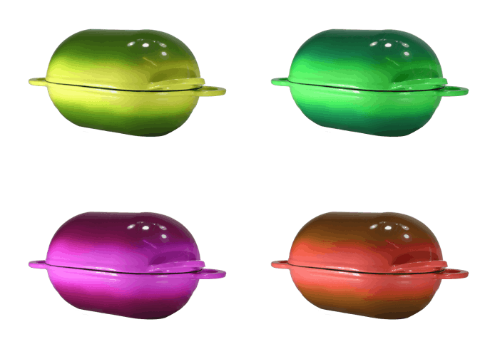 Computer generated images of LoafNest Casserole in different color. [Not final colors]