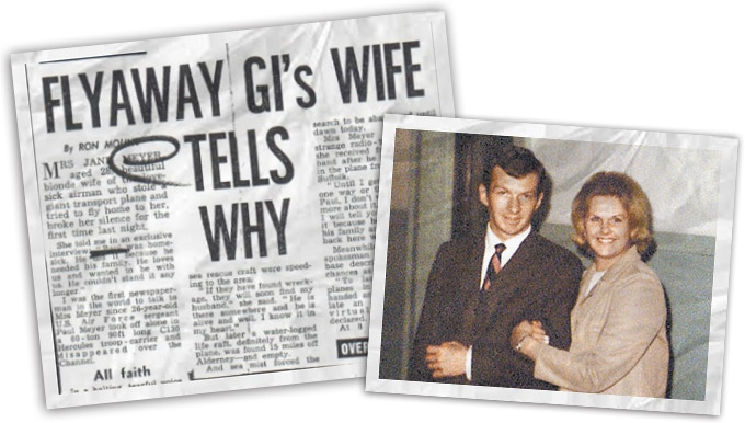 Paul & Jane photographed together, next to a headline after the theft of the C-130.