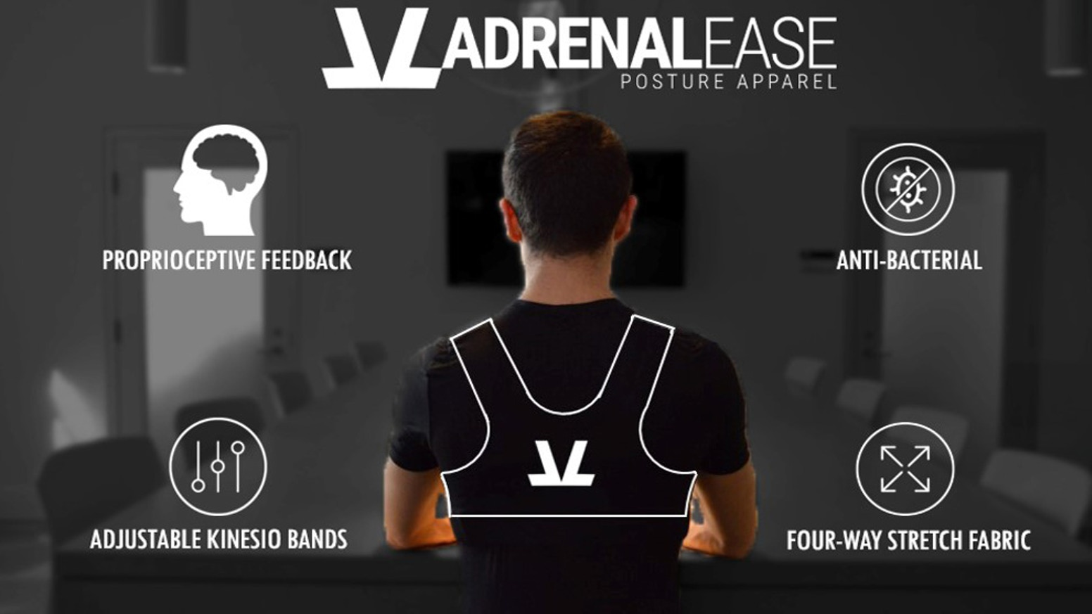 Adrenalease Posture Apparel was engineered by Kinesiologists to improve posture & gently remind you to keep an upright neutral spine.