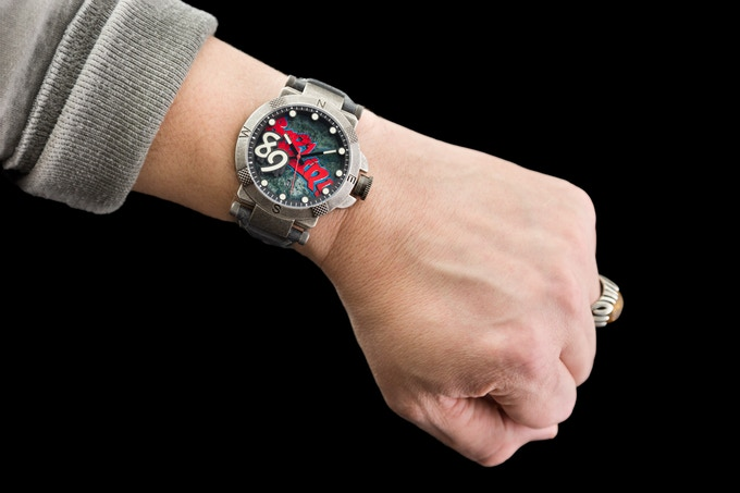 48 mm on the wrist (wrist is 7.5 inches)