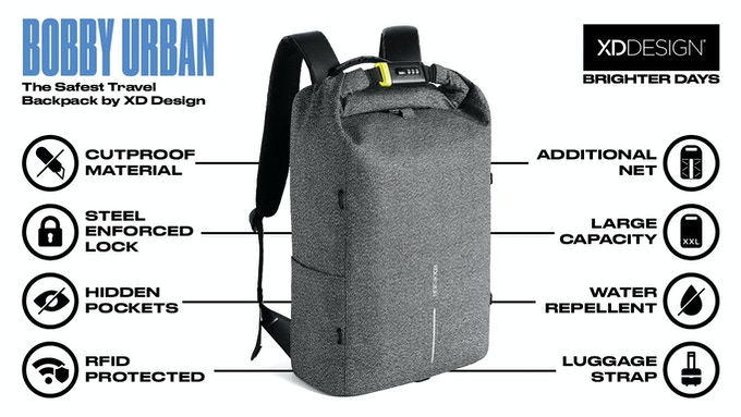 80eb1d165cc Bobby Urban - The Safest Travel Backpack by XD Design by XD Design ...