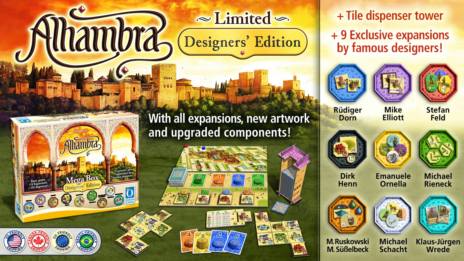 Alhambra with all new artwork, upgraded components and exclusive expansions of world-famous designers!