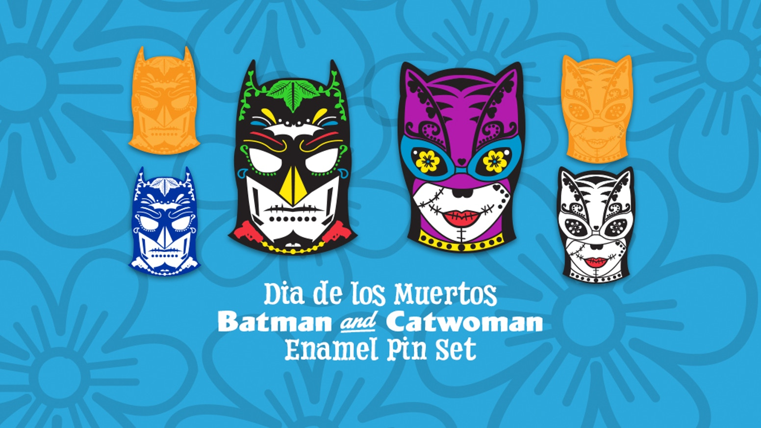 A set of 2 enamel pins inspired by Day of the Dead masks worn by Batman and Catwoman. Each set has variants, neon and glow features.