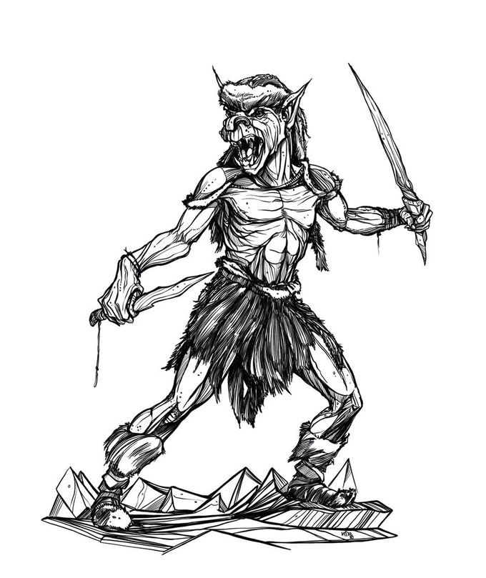 A winter goblin and his nasty ice blades. Watch out for his stealth outdoors and his special Cold Snap ability.