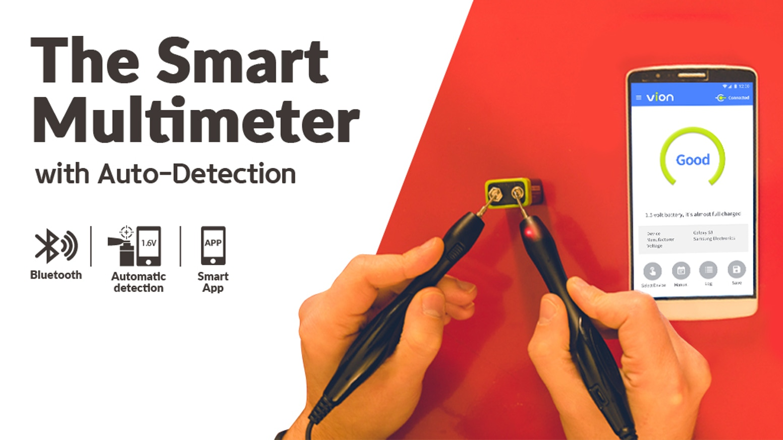 The simplest multimeter for the everyday person equipped with automatic detection, Bluetooth connectivity, and a smartphone application