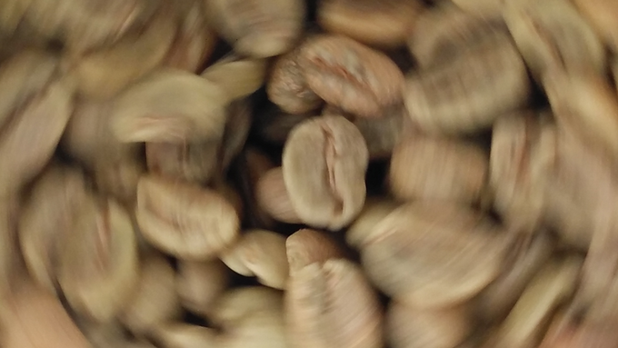 Coffee Beans in Motion during Roasting