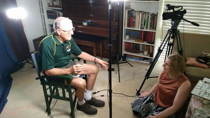 Filming Bernard Smith, USB & Data Section, Honeysuckle Creek Tracking Station, AU