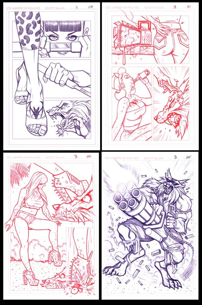 ORIGINAL ART PAGES #29, #31, #32, #35