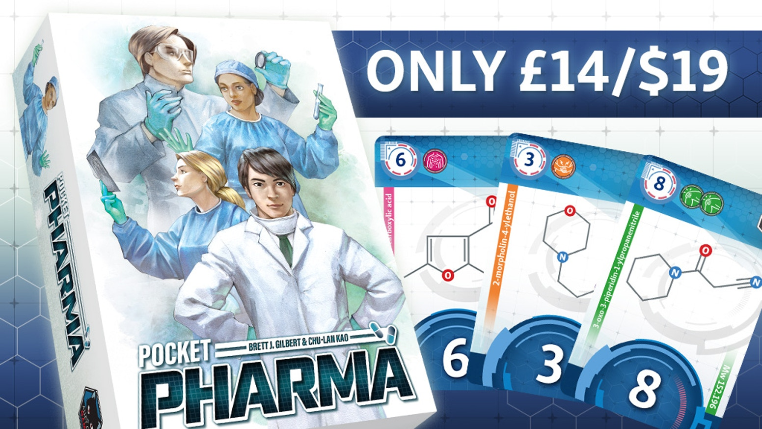 Designed by Kennerspiel des Jahres nominee Brett J. Gilbert, Pocket Pharma is an awesome pharmaceutical game in a pocket-sized box!