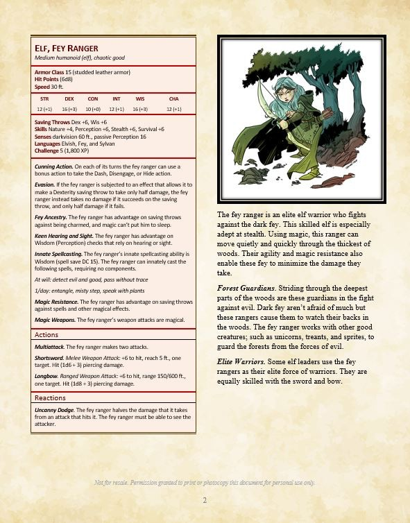 Monsters of Feyland for 5th Edition by Cawood Publishing