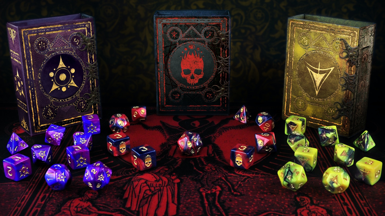 Lovecraftian designs: Yellow Sign of Hastur, Sigil of the Dreamlands, and Mark of the Necronomicon. Includes magnetic spell book box.
