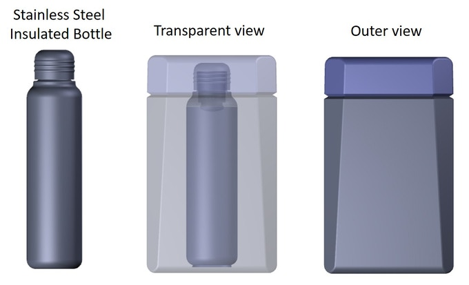 Design renderings of the Ujjaya Balance Bottle