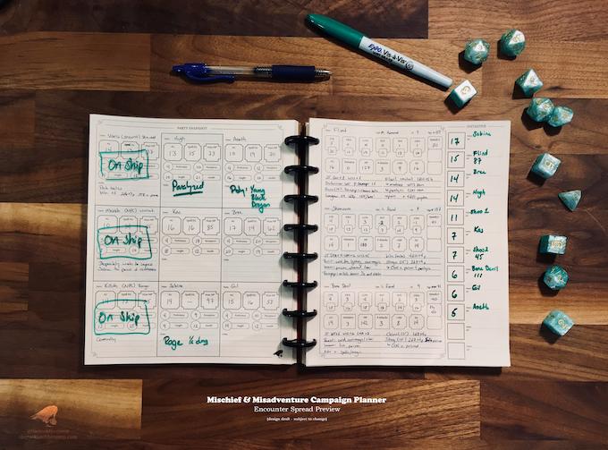 Campaign Planner Encounter Spread (Design Draft)