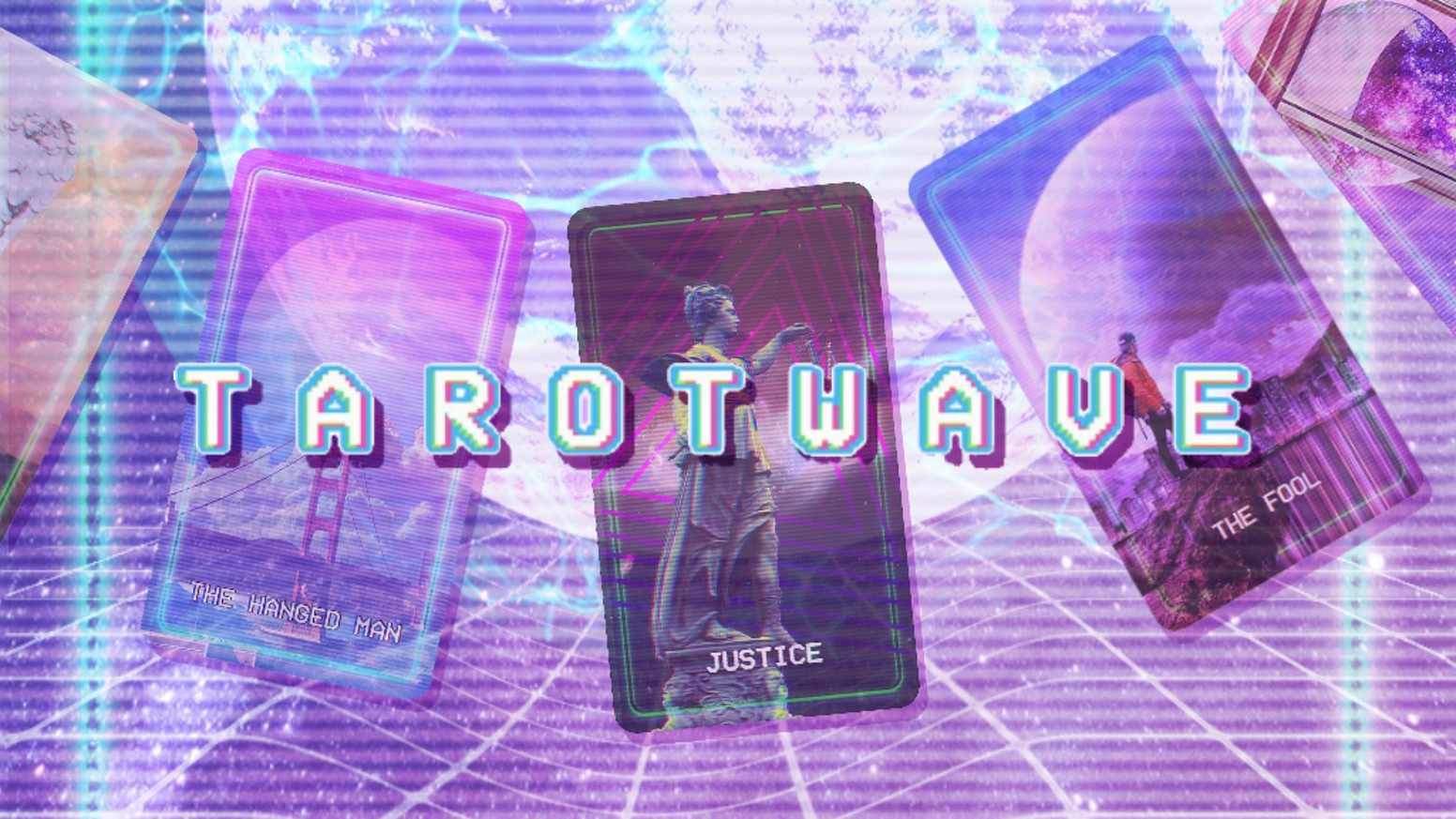 A unique tarot deck inspired by the aesthetics of vaporwave, space, glitch art, and beyond!