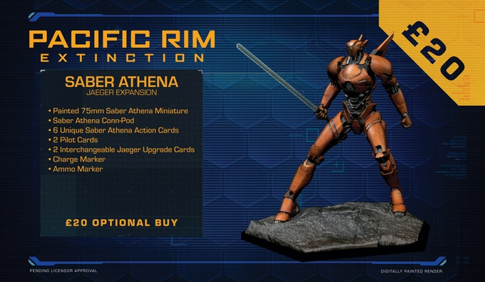 A close-quarters combat specialist, Saber Athena is the sleekest and most elegant Jaeger ever created. With her ultra-light frame and hyper-tensile muscle strands, she can leap, tumble and kick higher and faster than any other Jaeger.