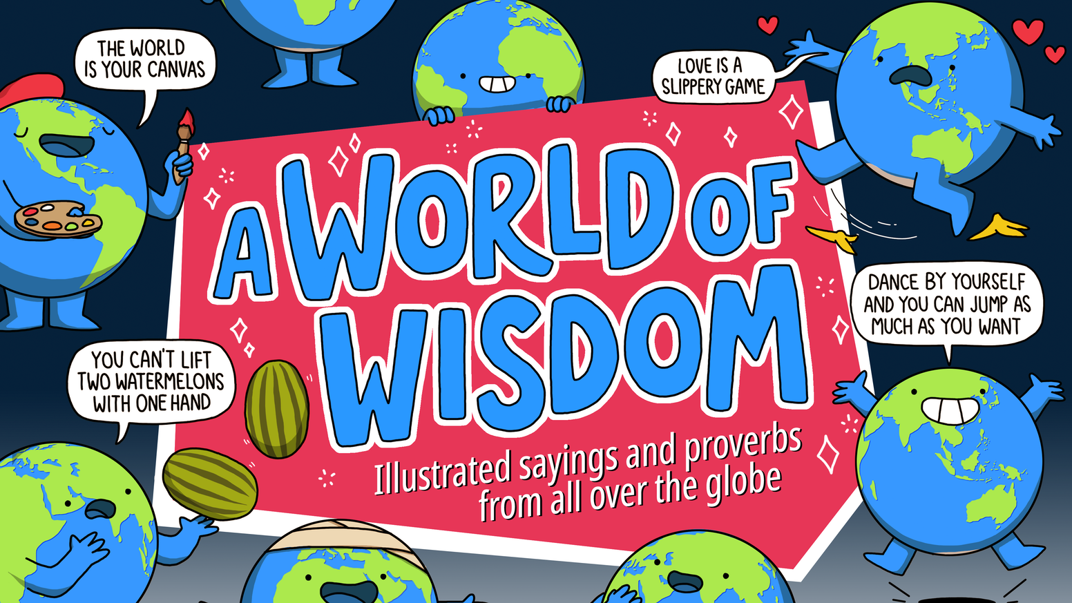 A fun book of sayings and expressions from across the globe, featuring cats, dogs, dancing and frogs.