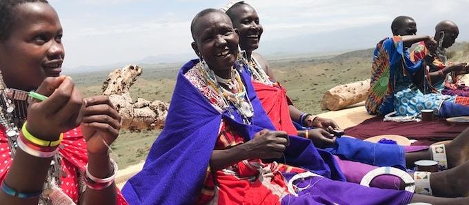 Stella, Leah, Grace, Sarah and Salomé. Maasai women artisans who work for ALAMA.
