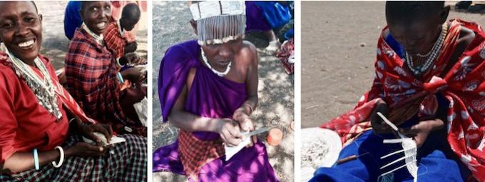 Namnyaki, Theresia, Raheli and Tikisaeli. Maasai artisans who work for ALAMA.