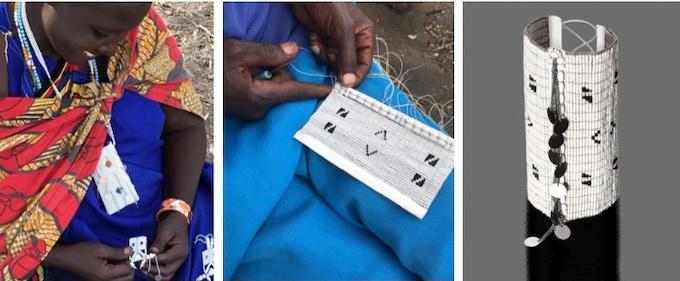 Grace (Maasai artisan from Ngabobo) working on an EKOMESHA bracelet.