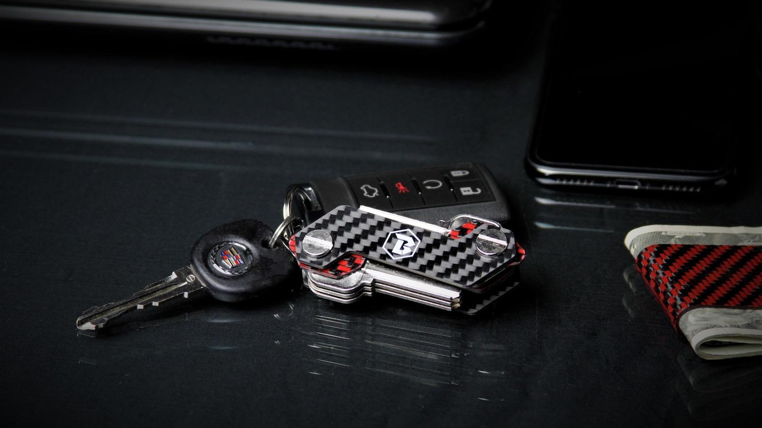 Black Label Co Carbon Fiber adjustable key holder organizer