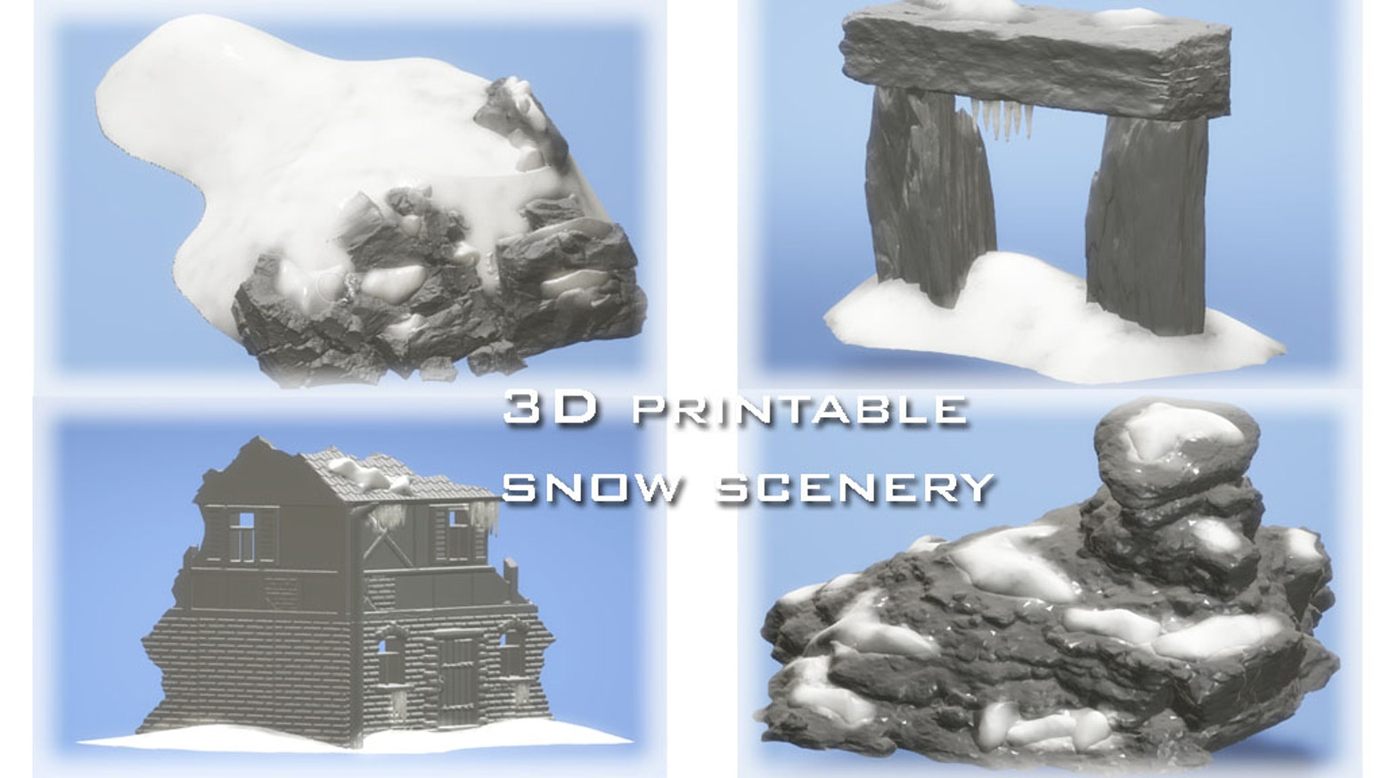 3D printable (STL Files) snow scenery for your 3D home printer